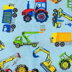 Traktory i ciężarówki na niebieskim - tkanina bawełniana