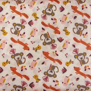 Wesołe zoo na kremie - tkanina bawełniana