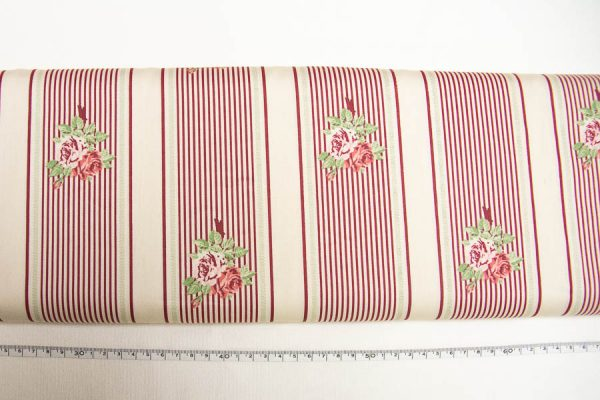 Róże na pasach bordo na beżu - tkanina bawełniana