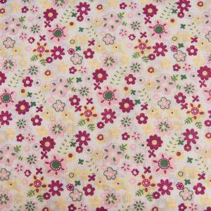 Łączka różowo-zielona - tkanina bawełniana