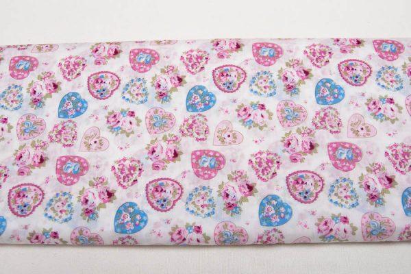 Różowo-niebieskie serca - tkanina bawełniana superfine