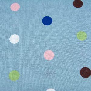 Kolorowe groszki na niebieskim - tkanina bawełniana