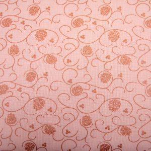 Szyszka i zawijasek na różu - tkanina bawełniana