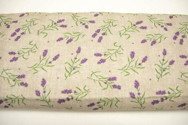Gałązki lawendy na beżu - tkanina bawełniana