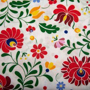 Folk biały - tkanina bawełniana