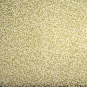 Złote listeczki na kremie - tkanina bawełniana