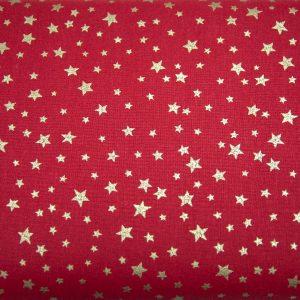 Złote gwiazdki na bordo - tkanina bawełniana