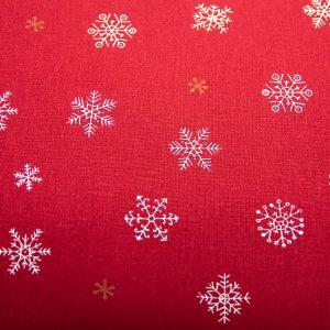 Złoto-białe śnieżynki na bordo - tkanina bawełniana