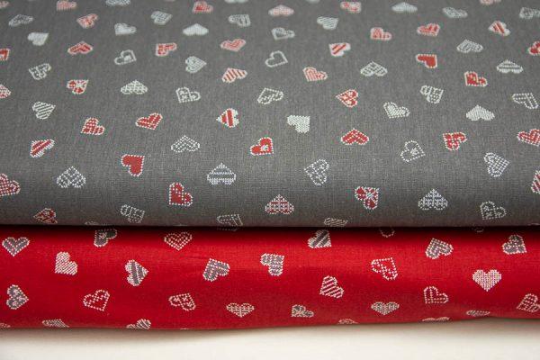 Bordo-białe serca na graficie - tkanina bawełniana
