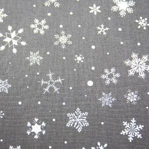 Białe śnieżynki na graficie - tkanina bawełniana