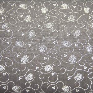 Srebrne szyszki z zawijasem na graficie - tkanina bawełniana