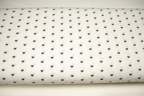 Grafitowe serduszka na bieli - tkanina bawełniana
