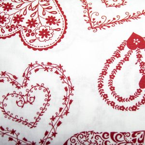 Serca bordo na bieli- tkanina bawełniana