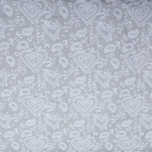 Serca paisley na szarym - tkanina bawełniana