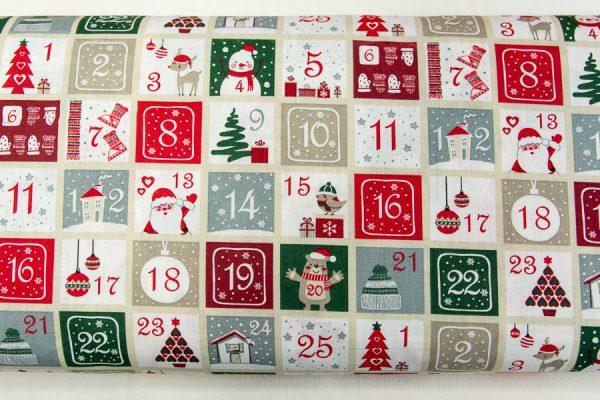Kalendarz Adwentowy- tkanina bawełniano-poliestrowa