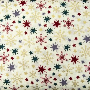 Kolorowe śnieżynki i gwiazdki na kremie - tkanina bawełniana