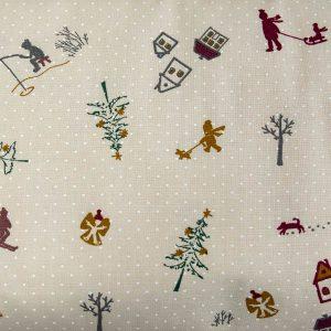 Zimowy spacer na kremie - tkanina bawełniana