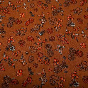Jesienny las na ochrze - tkanina bawełniana