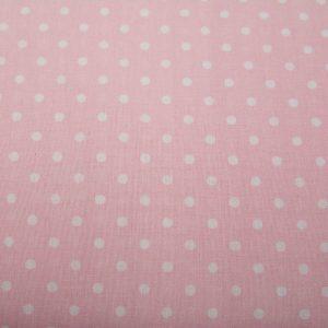 Kropki na różu - tkanina bawełniana
