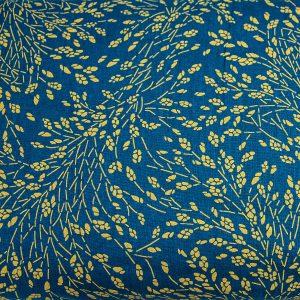 Złote gałązki na petrolu - tkanina bawełniana