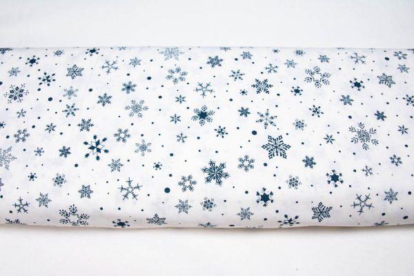 Śnieżynki petrol na bieli - tkanina bawełniana