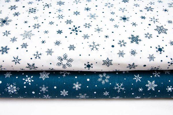 Białe śnieżynki - tkanina bawełniana