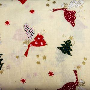 Anioł przy choince na kremie - tkanina bawełniana