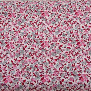 Gęsta łączka różowo-szara - tkanina bawełniana