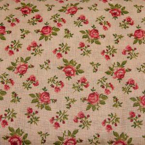 Czerwone różyczki na beżu - tkanina bawełniana