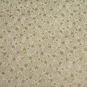 Złote gwiazdki na kremowym - tkanina bawełniana