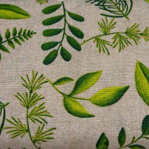 Zielone liście na beżu - tkanina bawełniana