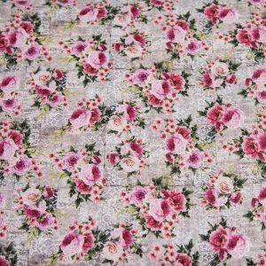 Eleganckie róże angielskie - tkanina bawełniana PREMIUM