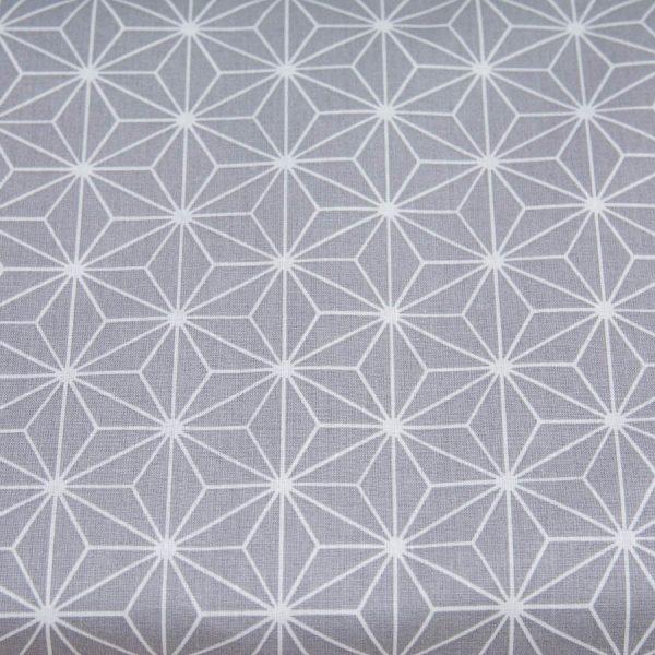 Trójkąty na szarym - tkanina bawełniana