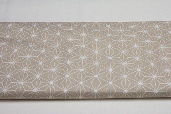 Trójkąty na beżowym - tkanina bawełniana