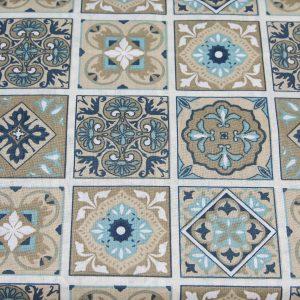 Patchwork niebiesko-beżowy - tkanina bawełniana