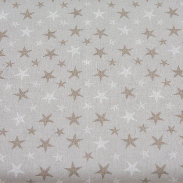 Gwiazdki na beżu - tkanina bawełniana