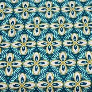 Słomkowe ozdoby na niebieskim - tkanina bawełniana