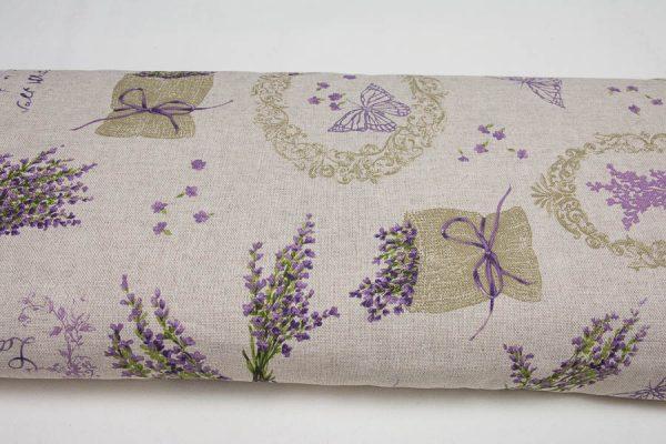 Lawenda i motyle - tkanina bawełniano-poliestrowa