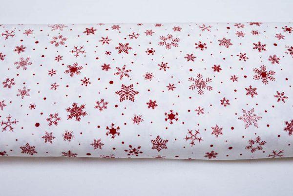 Bordo śnieżynki na bieli - tkanina bawełniana