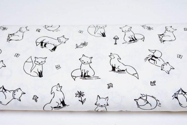 Liski na bieli - tkanina bawełniana