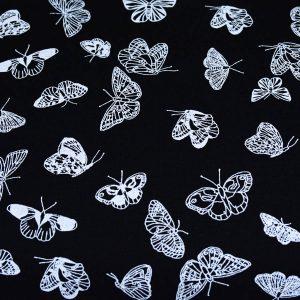 Motylki na czerni - tkanina bawełniana