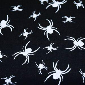 Pająki na czerni - tkanina bawełniana