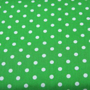 Grochy na zieleni - tkanina bawełniana