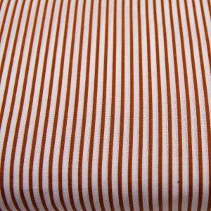 Brązowe paseczki na bieli - tkanina bawełniana