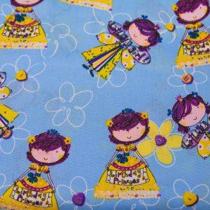 Urodzinowe dziewczynki na niebieskim - tkanina bawełniana