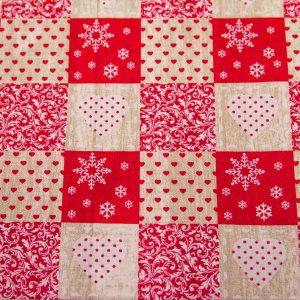 Serca i serduszka w beżowo-czerwonych kratkach - tkanina bawełniana