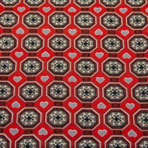 Szaro-czerwona mozaika - tkanina bawełniana