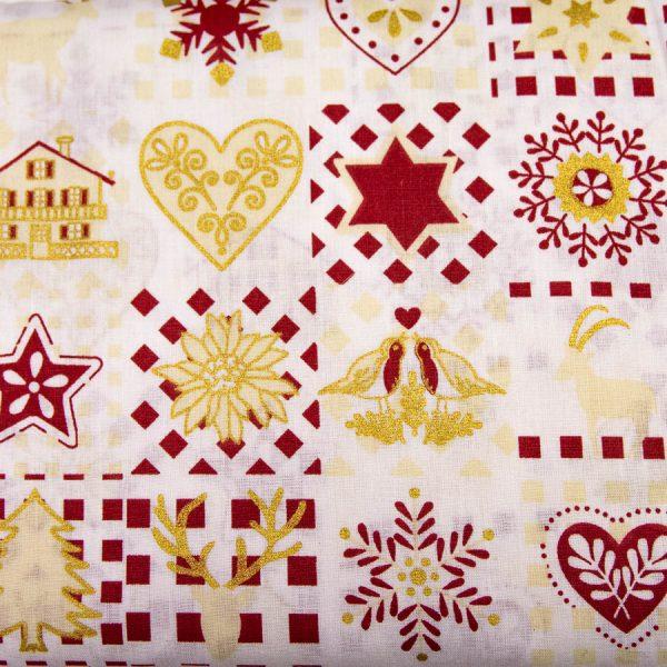 Bordo-złote obrazki świąteczne - tkanina bawełniana