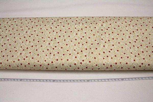 Bordo gwiazdeczki na złotokremowym - tkanina bawełniana