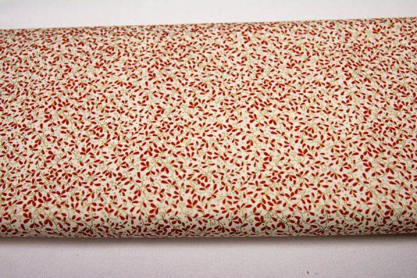 Bordo listeczki na kremie - tkanina bawełniana